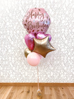 Load image into Gallery viewer, Happy Birthday! JUMBO Deluxe Rose Gold & Pink Foil Balloon Bouquet
