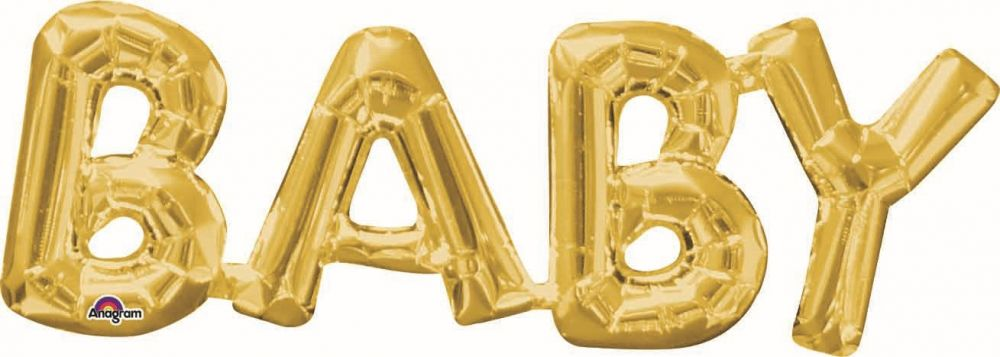 """BABY"" Large Letter Balloons 40"" in Rose Gold, Silver, or Gold"