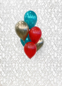 Christmas Balloon Bouquet - Classic Red, Gold, Green