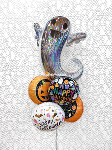Extra-Large iridescent Ghost Halloween Balloon Bouquet