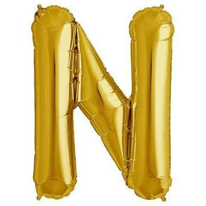"Foil Letter Balloons Large Size - ""N"" - Rose Gold, Silver, or Gold"