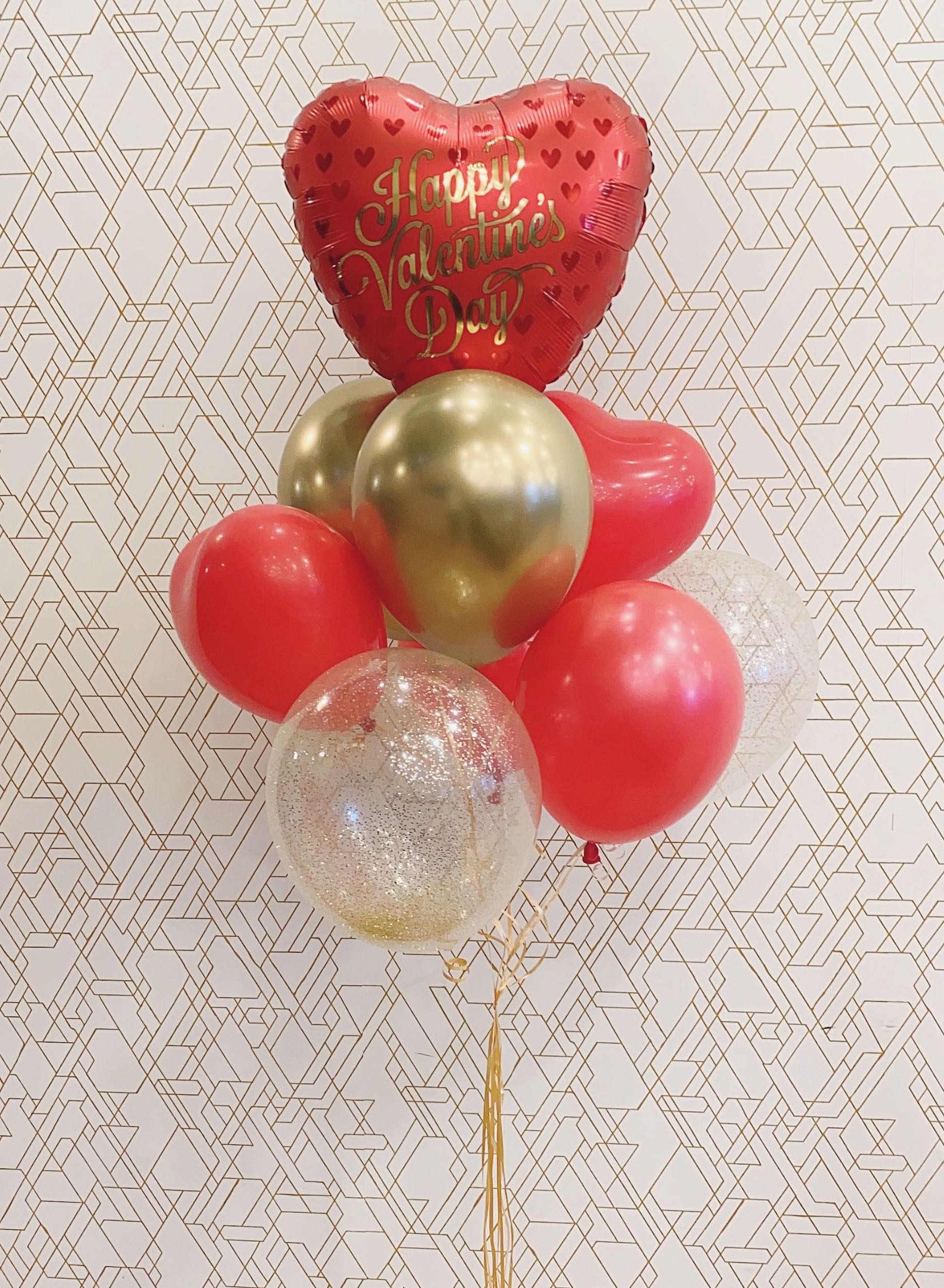 Red & Gold ❤️Deluxe Valentines Day Balloon Bouquet