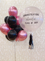 Load image into Gallery viewer, GRADUATION JUMBO Balloon & Bouquet Package - Personalized with Custom Message