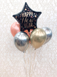 Deluxe New Years Eve Balloon Bouquet - Gold, Silver, & Rose Gold