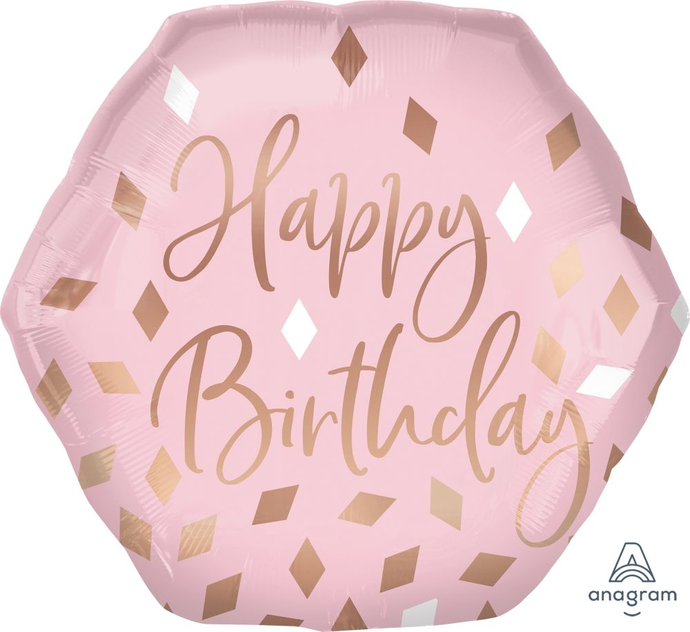 Happy Birthday! JUMBO Deluxe Rose Gold & Pink Foil Balloon Bouquet