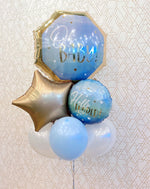 Load image into Gallery viewer, Hello World! Baby Boy Balloons (Extra Deluxe Bouquet) Baby Shower/Baby Birthday Party