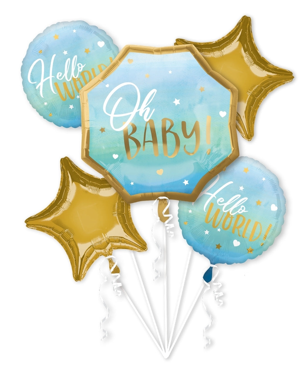 Hello World! Baby Boy Balloons (Extra Deluxe Bouquet) Baby Shower/Baby Birthday Party