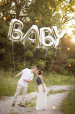 "Load image into Gallery viewer, ""BABY"" Large Letter Balloons 40"" in Rose Gold, Silver, or Gold"