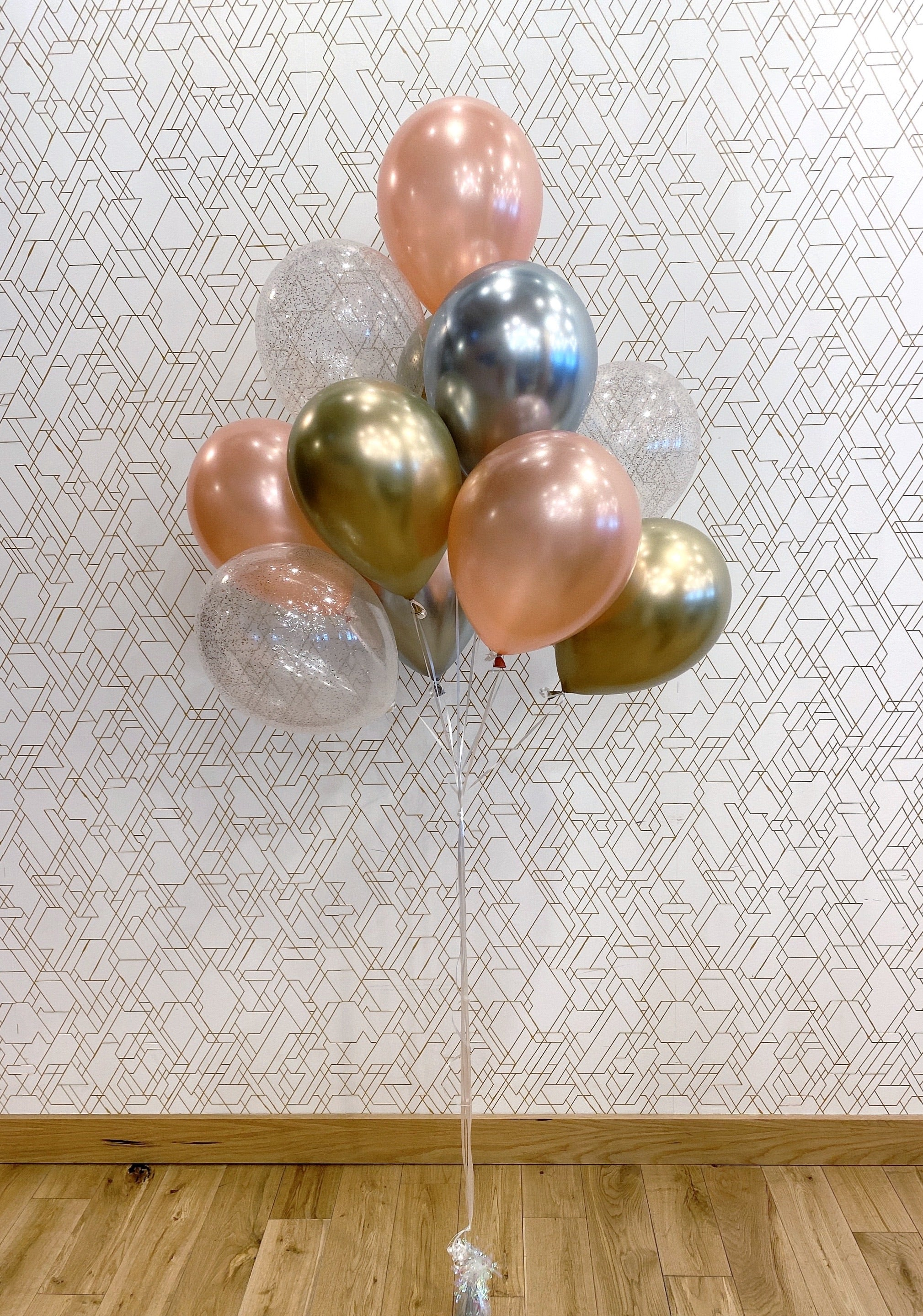Gold, Silver, Rose Gold, & Sparkle Balloon Bouquet