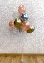 Load image into Gallery viewer, Gold, Silver, Rose Gold, & Sparkle Balloon Bouquet