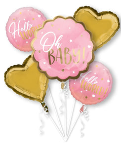 Hello World! Baby Girl/Pink Balloons (Extra Deluxe Bouquet) Baby Shower/Baby Birthday Party