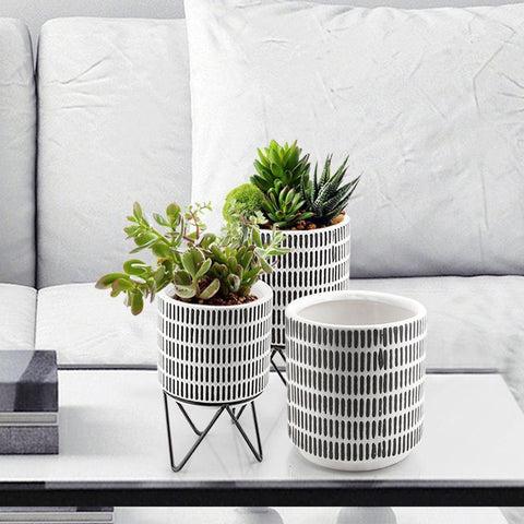 Ceramic Planter with Metal Stand