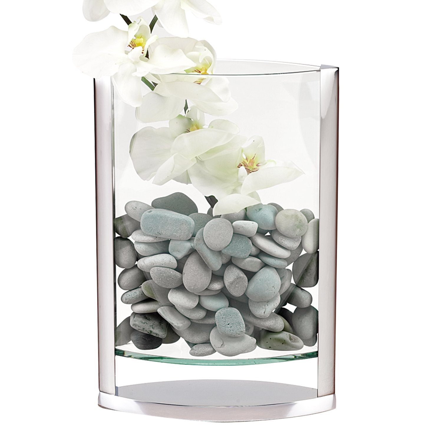 "12"" Hand Blown Crystal & Non Tarnish Aluminum Pocket Vase"