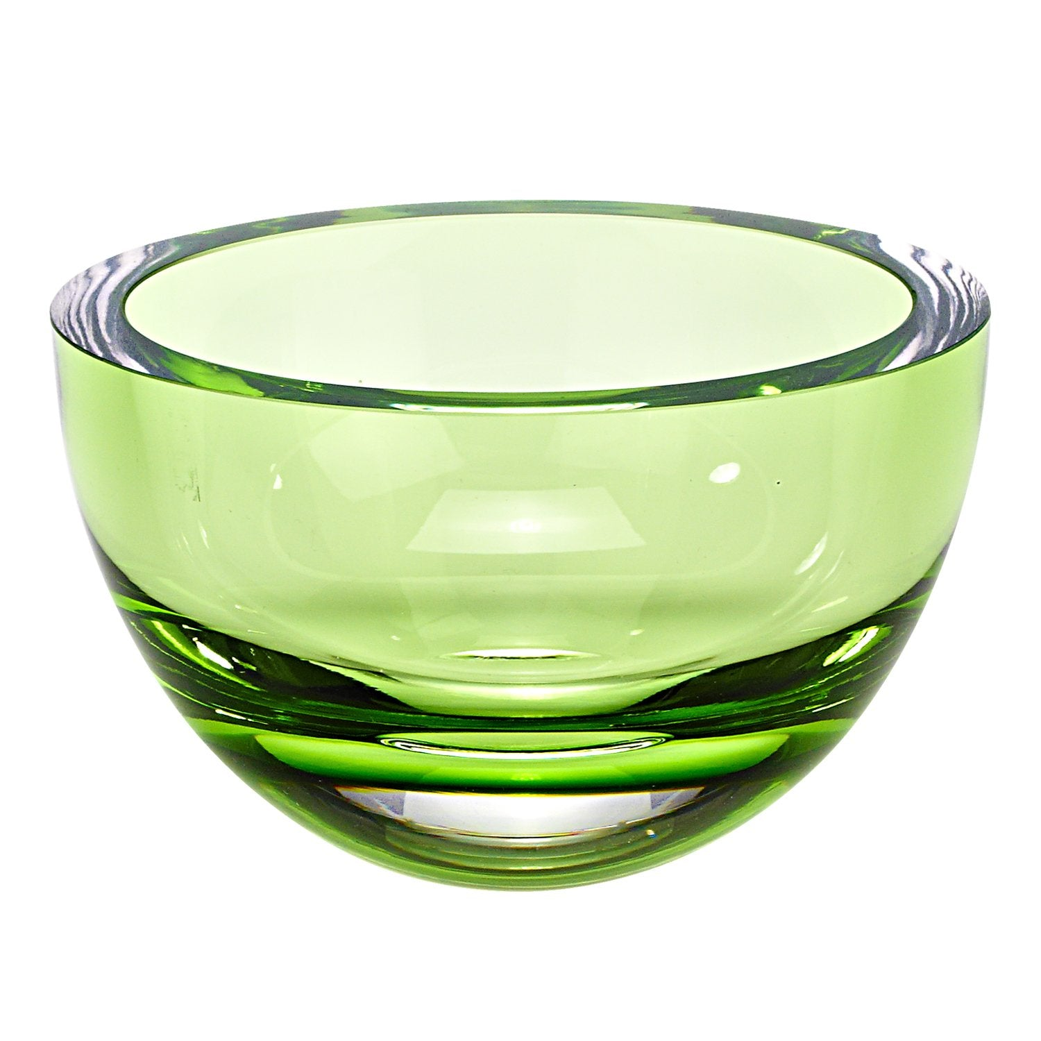 "6"" Mouth Blown Crystal European Made Lead Free Spring Green Bowl"
