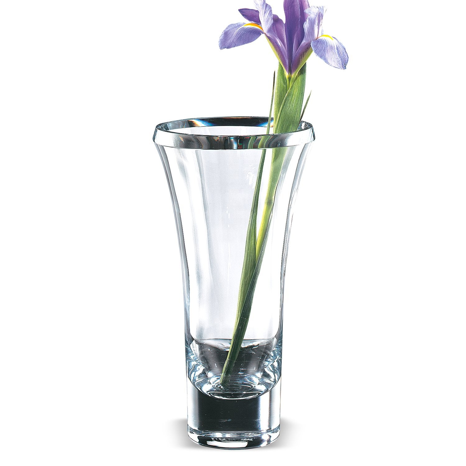 "11"" Mouth Blown Crystal Thick Walled Beveled Edge Vase"