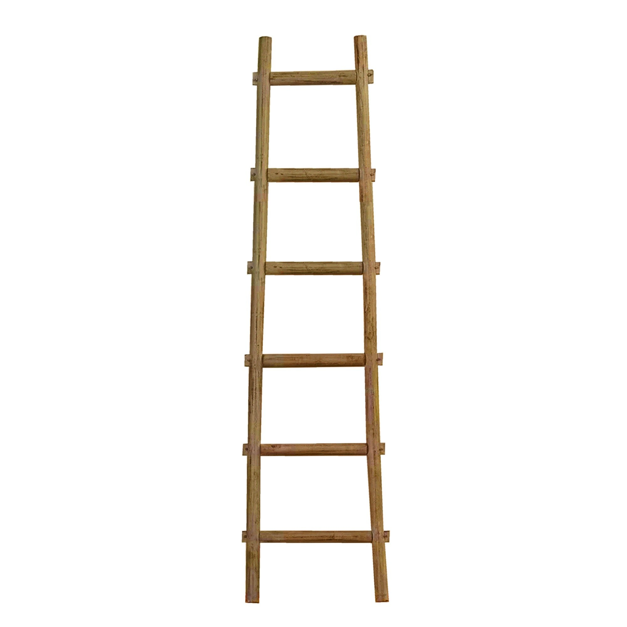 6 Step Brown Decorative Ladder Shelve