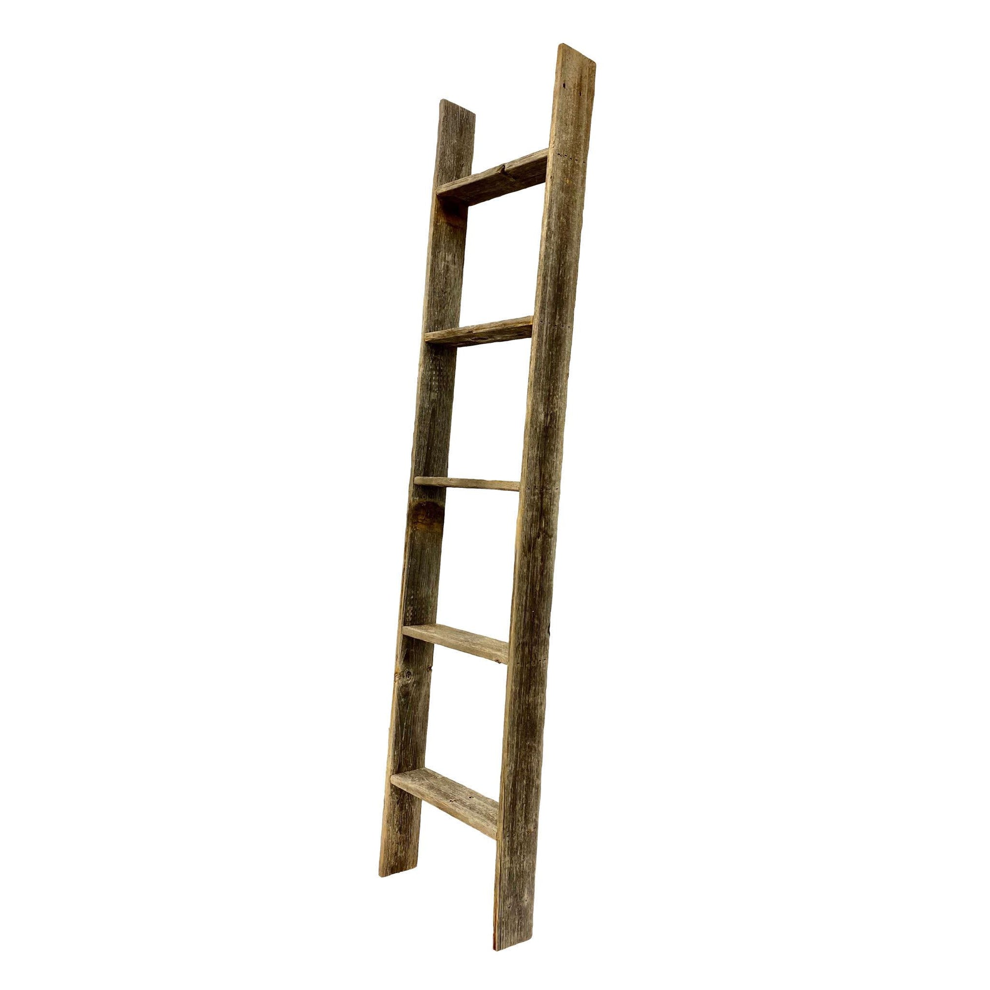 4 Step Rustic Weathered Grey Wood Ladder Shelf