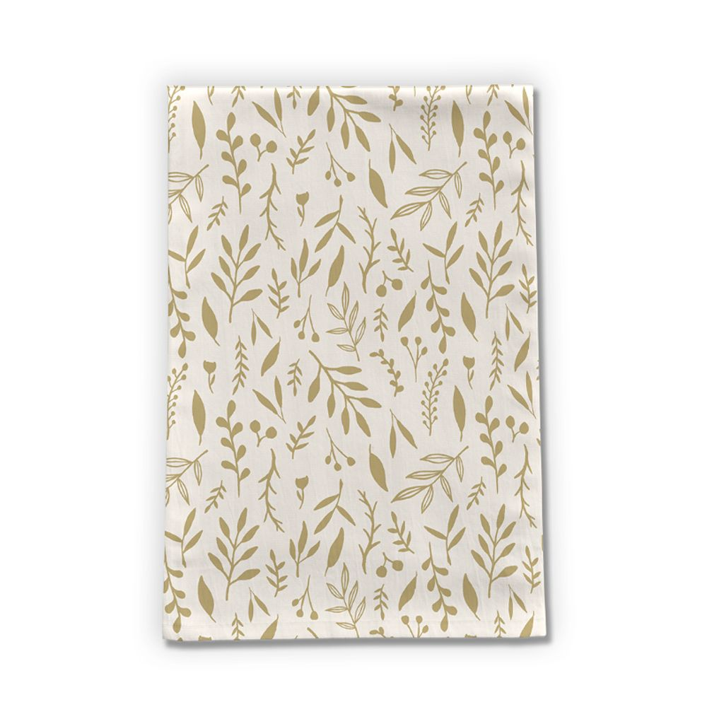 Gold Falling Leaves Tea Towel