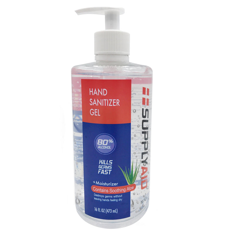 SUPPLYAID® 80% Alcohol Hand Sanitizer Gel w/Soothing Aloe | FDA # 74035-1051-5 | 16-Oz