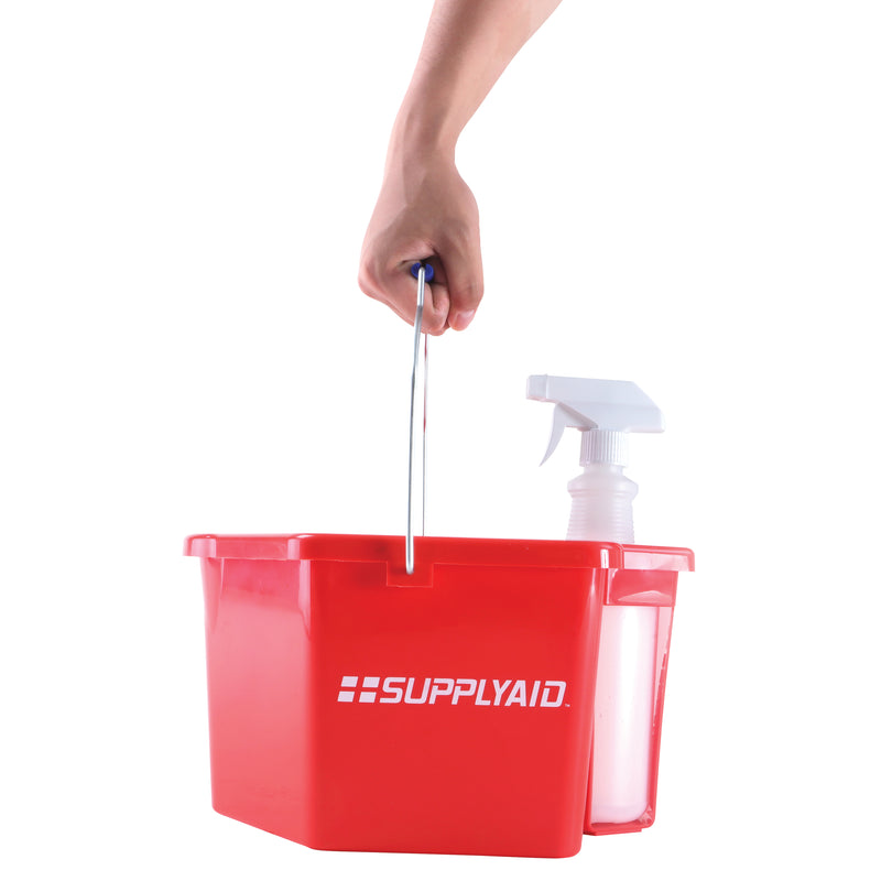 SUPPLYAID® RRS-6QSCS Sanitizing Caddy System | 6 Quart | Included 25 Oz Spray Bottle | Easy Pour Spout