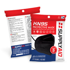 SUPPLYAID® RRS-KN95-5PK-BLK KN95 Protective Face Mask | GB2626 Standard | 5-Pack (Black)