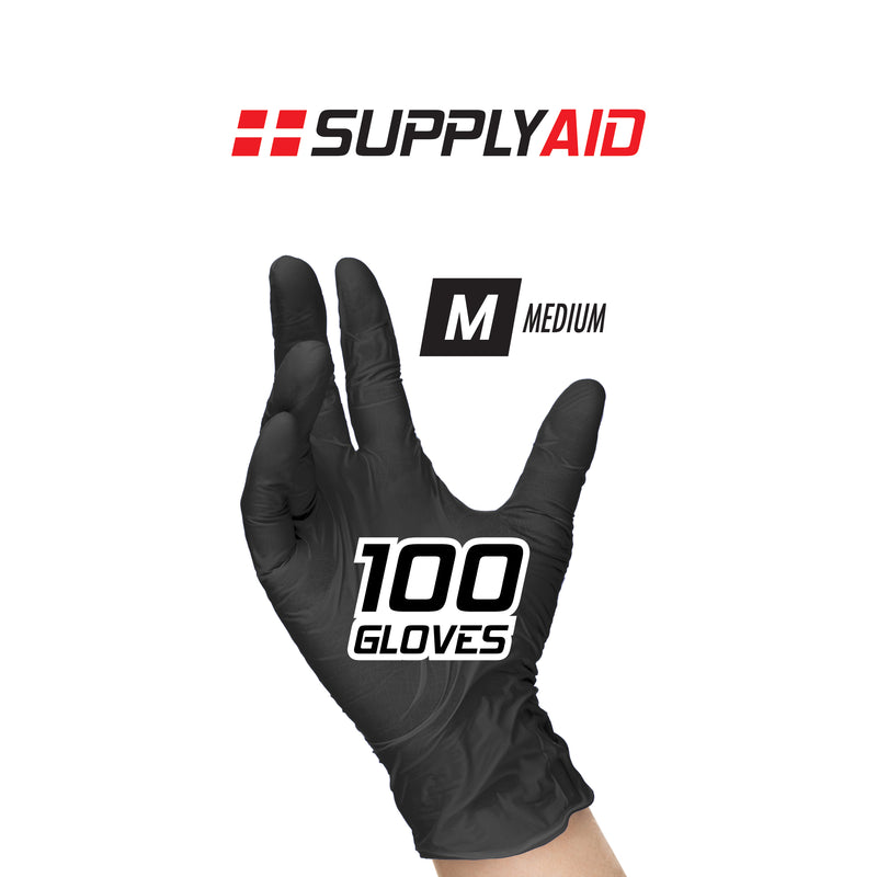 SupplyAID™ 3-Mil Palm Thickness Nitrile + PVC Blend Disposable Examination Gloves, Powder + Latex Free-100-Count/Box, Non-Sterile, Black