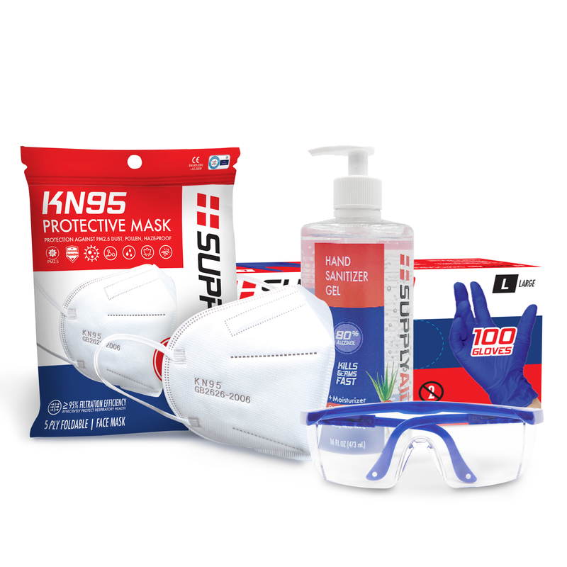 SUPPLYAID® Survival Kit | KN95 Face Masks | Hand Sanitizer | Disposable Gloves | Safety Glasses