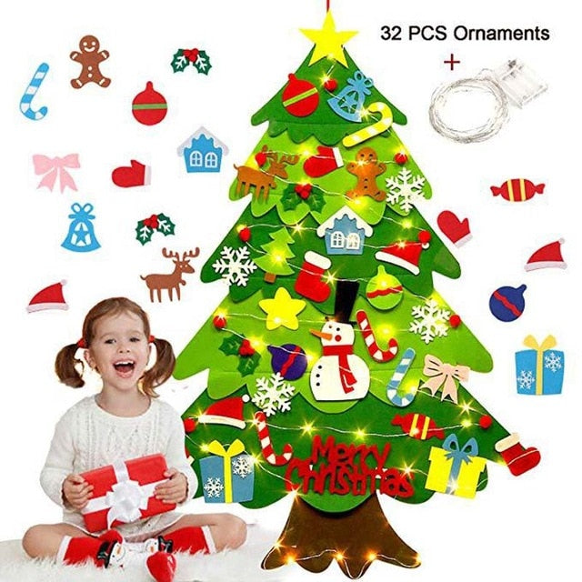 DIY Crafts Toys Felt Christmas Tree Snowman with Ornaments Fake Christmas Tree Kids Toy Christmas Party Decoration New Year 2020