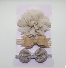 Load image into Gallery viewer, 3 pack Baby Elastic flower headband