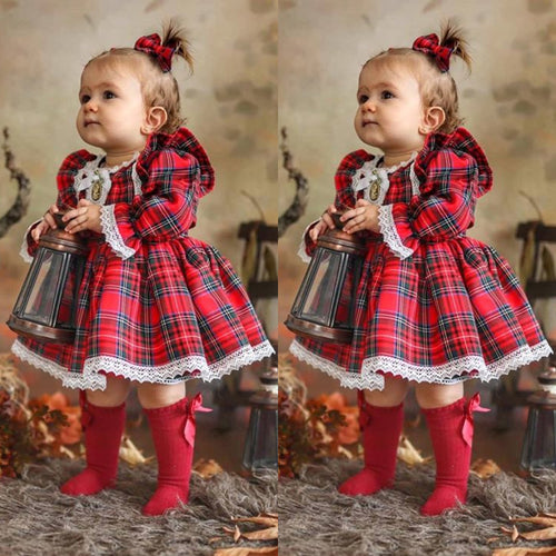 Checkered christmas lace trim dress