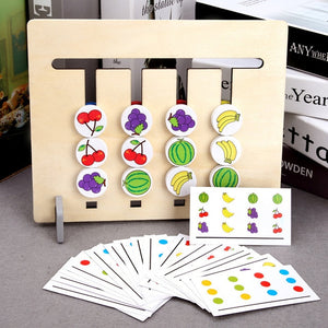 Montessori Educational Wooden Toys Four Colors and Fruit Double Sided Pairing With Card Children Logical Reasoning Game Toy