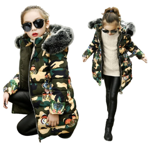 Butterfly Camouflage Army Green Puffer Coat