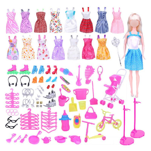 114 Piece Clothing Jewellery Accessories Set for Barbie