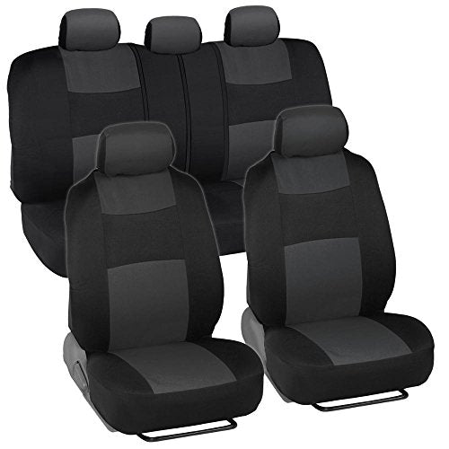 Car Seat Covers, Full Set in Charcoal on Black