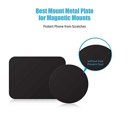Mount Metal Plate with Adhesive for MagneticCradle-less Mount - 4 Pack, 2 Rectangle and 2 Round