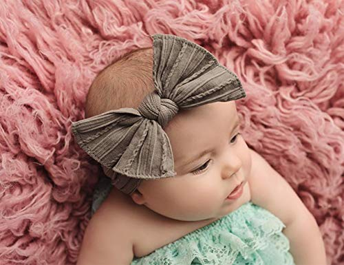 Stretchy Nylon Bow Knotted Headbands  for Baby ( 8 Packs )