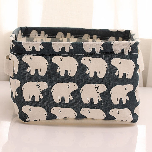 Natural Linen & Cotton Fabric Storage Bins