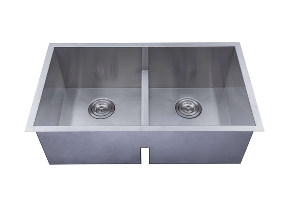 Amerisink 31.25 Low Divider Double Bowl Undermount Legend Stainless Steel Kitchen Sink -18 Gauge