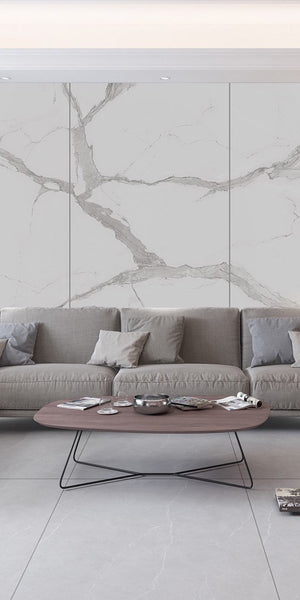 Porcelain Large Format SLIM Tile | 1200x2400x5.5mm | Calacatta Bookmatched - Global Builders Warehouse