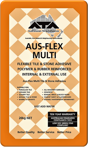Aus-Flex Multi Tile & Stone Adhesive | Orange | 20kg - Global Builders Warehouse