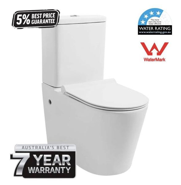 Global Back to Wall Premium Toilet | Ergonomic Rimless Design | 7yr warranty - Global Builders Warehouse
