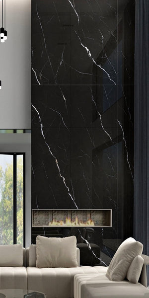 Sintered Stone | Large Format Slab Panel | 1600x3600x15.5mm | Nero Marquinia - Global Builders Warehouse