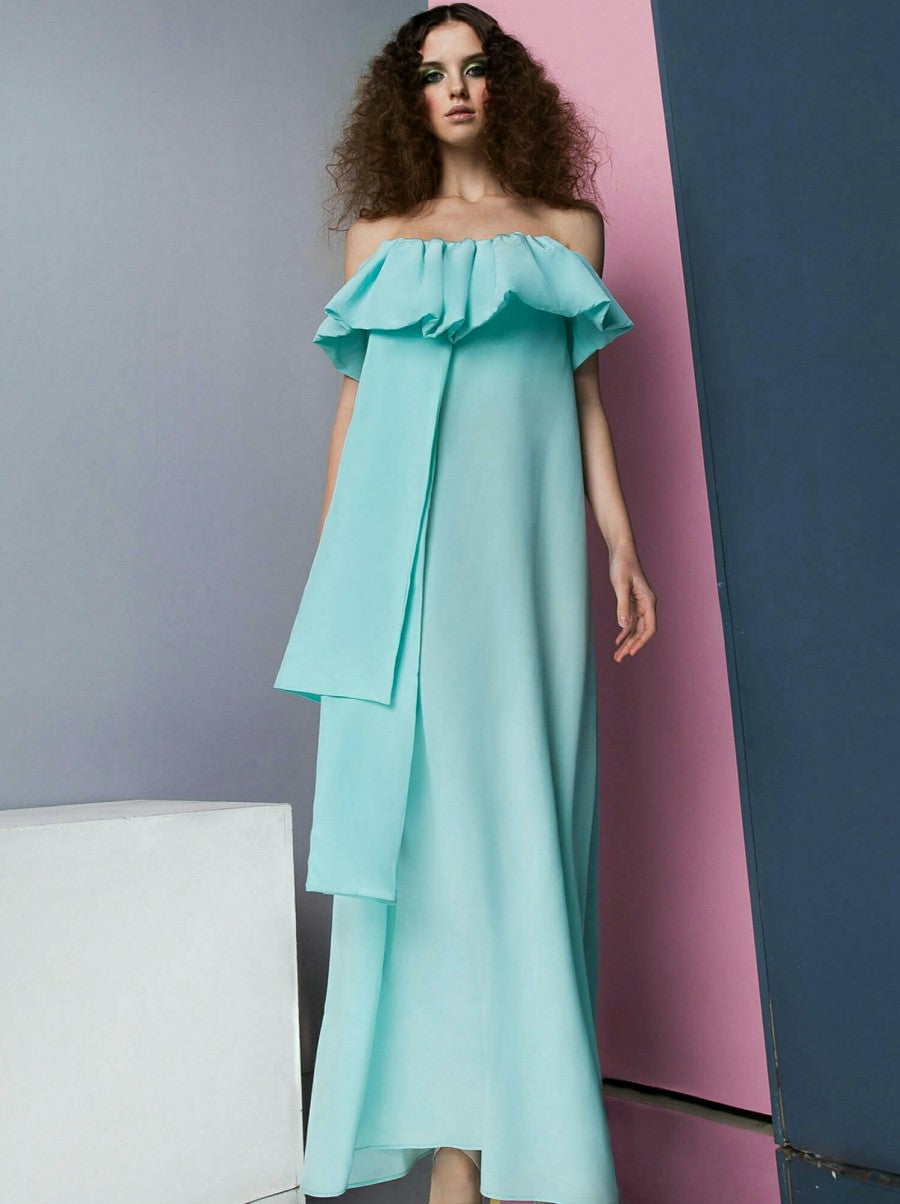 Turquoise Silk Maxi Dress