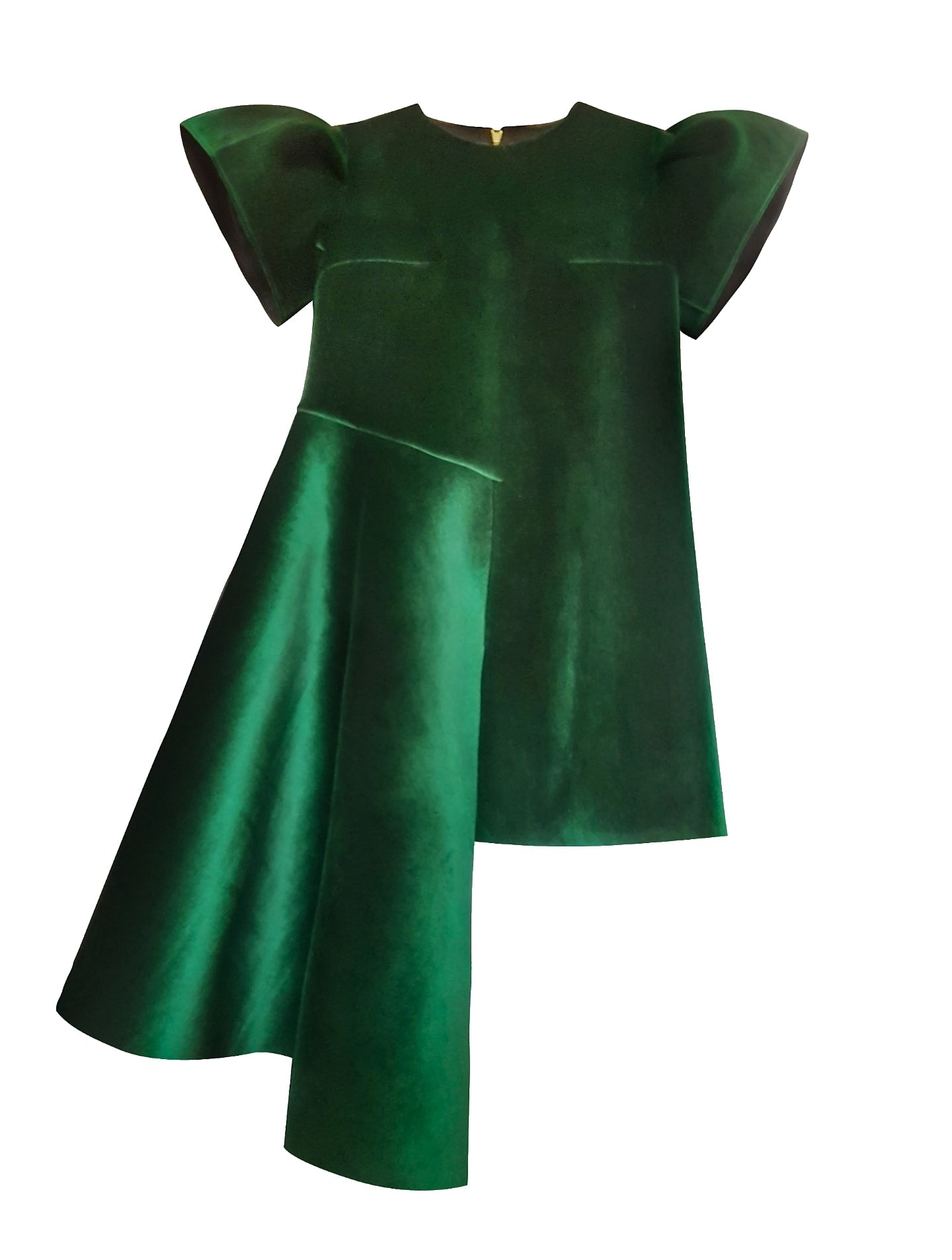 Green neoprene-velvet dress