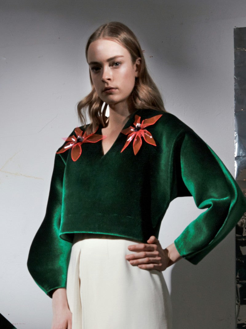 green neoprene-velvet top