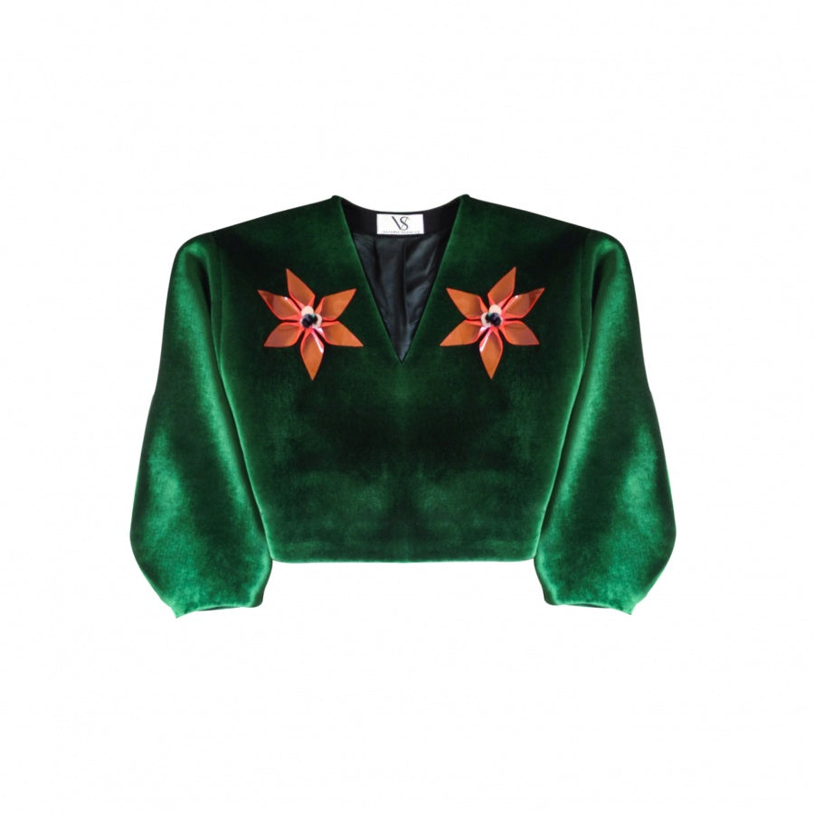 green velvet sweater