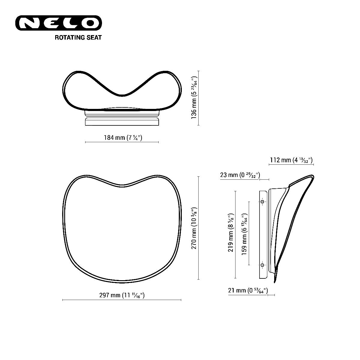 Nelo rotation seat in carbon technical drawing