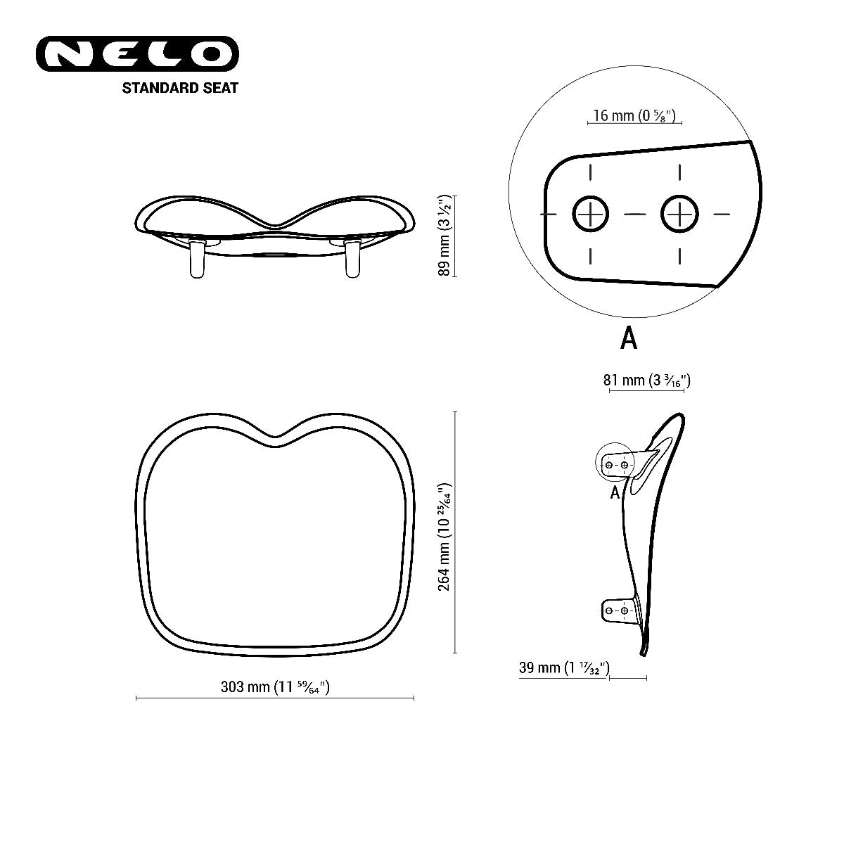 Nelo seat standard technical drawing