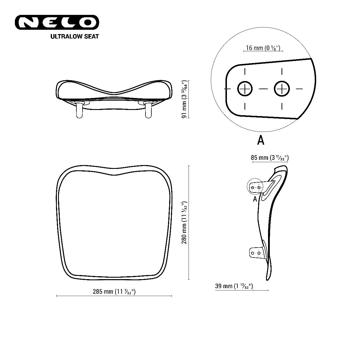 Nelo Ultra low seat technical drawing