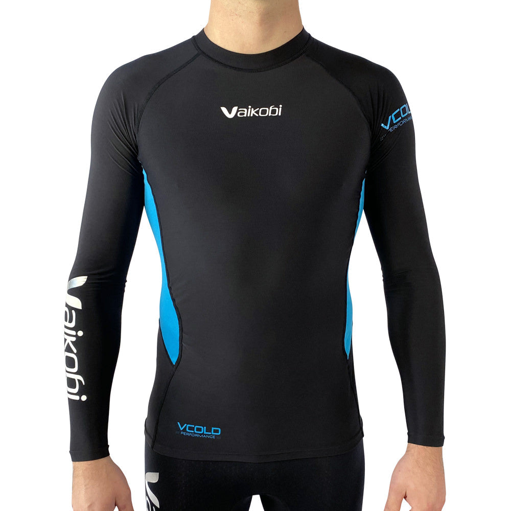 Vaikobi V Cold Performance Base layer top black-cyan front